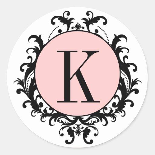Étiquette blanc noir de rose de damassé du autocollants ronds