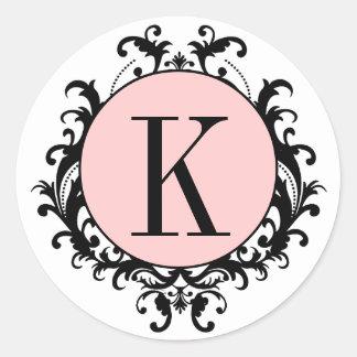 Étiquette blanc noir de rose de damassé du monogra autocollants