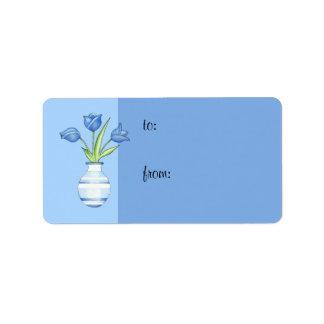 Étiquette bleue de cadeau de tulipes bleues