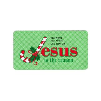 Étiquette de adresse de Jésus de sucre de canne Étiquette D'adresse