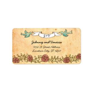 Étiquette de adresse de mariage de rock (roses) étiquettes d'adresse