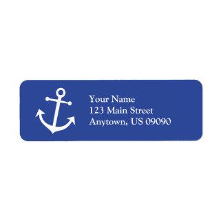 Étiquette de adresse de retour d ancre de bateau étiquette d'adresse retour