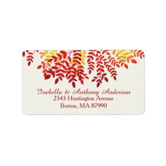 Étiquette de adresse de retour d'automne de