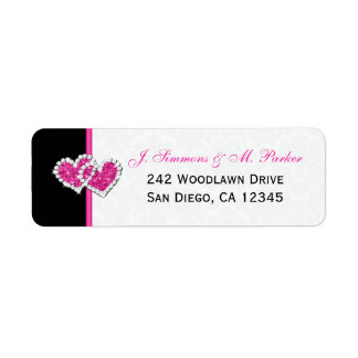 Étiquette de adresse de retour de coeurs roses
