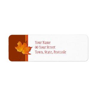 Étiquette de adresse de retour de feuille d érable étiquette d'adresse retour