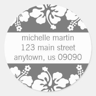Étiquette de adresse de retour de fleurs de ketmie autocollant rond