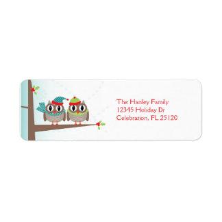 Étiquette de adresse de retour de Noël de couples