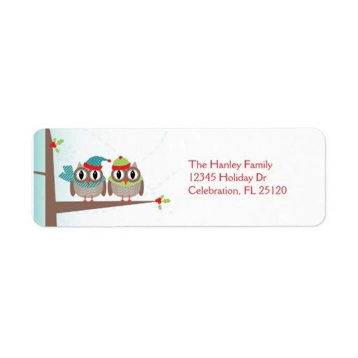 Étiquette de adresse de retour de Noël de couples  Étiquettes D'adresse Retour