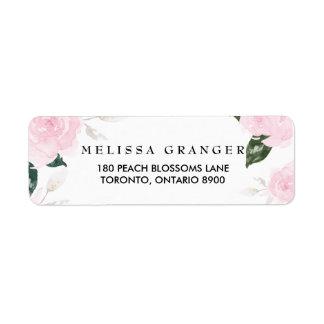 Étiquette de adresse de retour de roses roses doux
