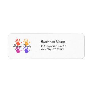 Étiquette de adresse de thérapie de massage étiquette d'adresse retour