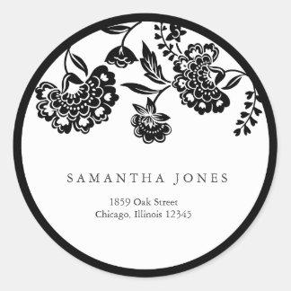 étiquette de adresse floral noir de damassé sticker rond