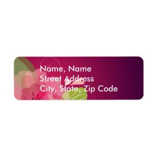 Étiquette de adresse floral violet de mariage