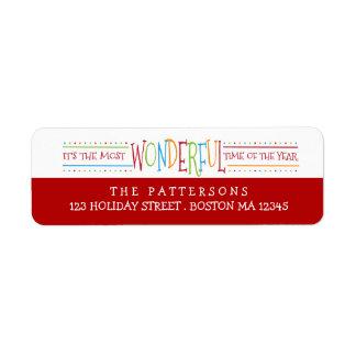 Étiquette de adresse merveilleux coloré de Noël