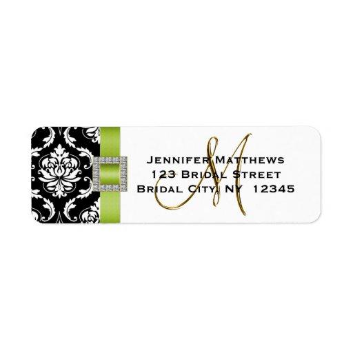 Étiquette de adresse noir vert de mariage damassé  étiquettes d'adresse retour