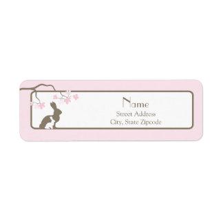 Étiquette de adresse rose de lapin de mère et de