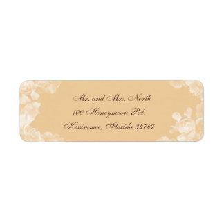 Étiquette de adresse vintage de retour de gardénia étiquette d'adresse retour