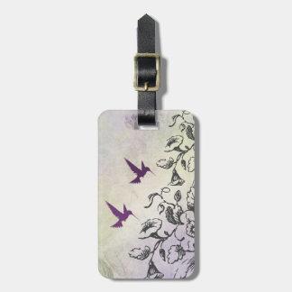 Étiquette de bagage de colibris et de fleurs étiquette pour bagages