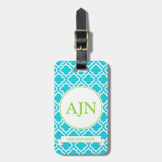 Étiquette de bagage de monogramme de turquoise