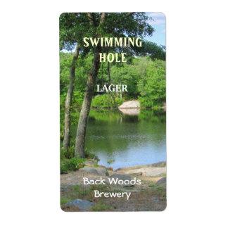 Étiquette de bière de ~ de trou de natation
