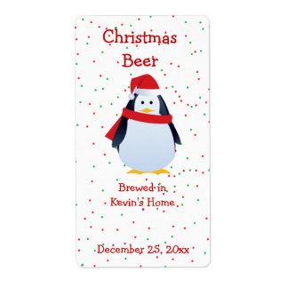Étiquette de bière de pingouin de Noël mini