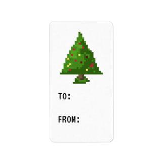 Étiquette de cadeau d'autocollant d'arbre de Noël