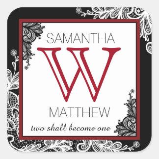 Étiquette de cadeau de mariage de dentelle de Goth Sticker Carré