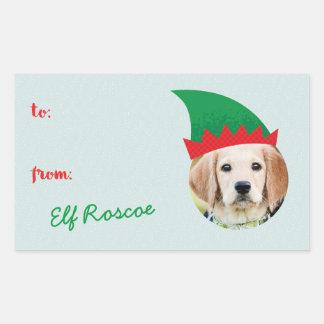 Étiquette de cadeau de photo de chapeau d'Elf Sticker Rectangulaire