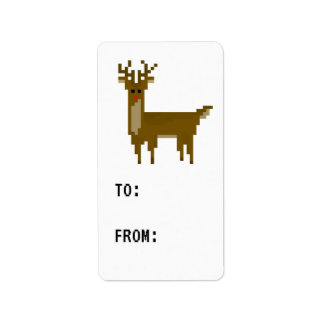 Étiquette de cadeau d'étiquette de renne de