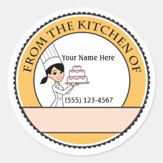 Étiquette de cuisson personnalisé d'autocollant de sticker rond