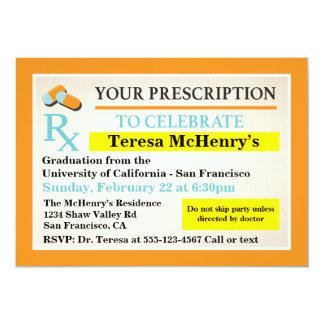 Étiquette de docteur Medical Graduation Carton D'invitation 12,7 Cm X 17,78 Cm
