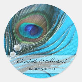 Étiquette de faveur de mariage de plume de paon de sticker rond
