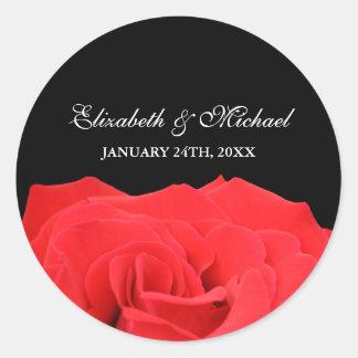 Étiquette de faveur de mariage de rose rouge et de sticker rond