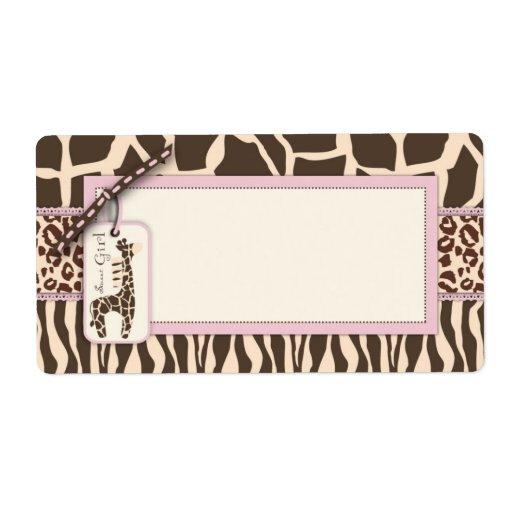 tiquette de nom de fille de safari zazzle. Black Bedroom Furniture Sets. Home Design Ideas