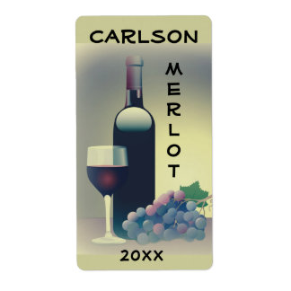 Étiquette de raisins de verre à bouteilles de vin
