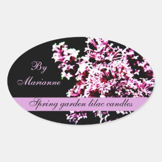 Étiquette de savon de bougies de lilas de jardin sticker ovale