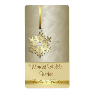 Étiquette de vin de vacances de bijou d'or de