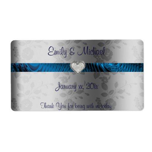 Étiquette de vin/eau de mariage bleu et argenté, étiquettes d'expédition