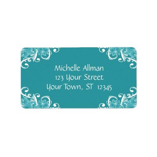 Étiquette floral bleu et blanc d'Avery Étiquettes D'adresse