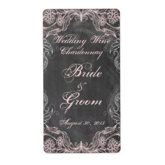 Étiquette floral rose antique de vin de mariage de étiquette d'expédition