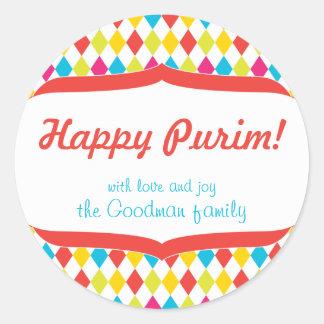 Étiquette heureuse de cadeau de Purim Adhésifs