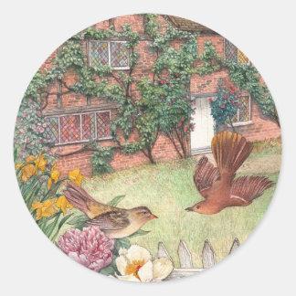 Étiquette illustré de jardin de cottage de