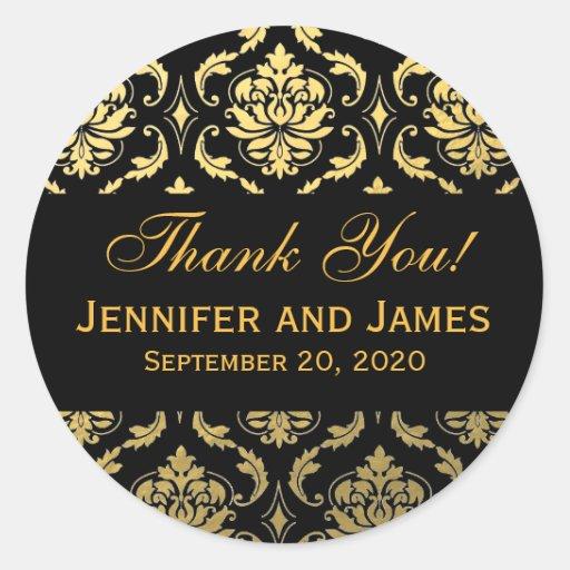 Étiquette noir de Merci de damassé de mariage d'or Autocollant