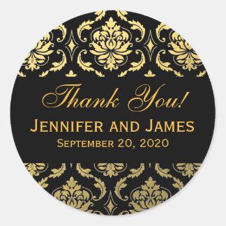 Étiquette noir de Merci de damassé de mariage d'or Sticker Rond