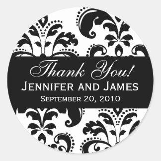 Étiquette noir et blanc de Merci de damassé de Sticker Rond