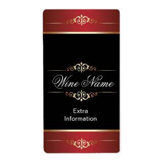 Étiquette noir rouge de vin d'or classique