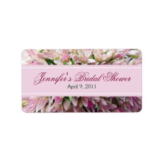 Étiquette nuptiale de douche de bouquet rose en