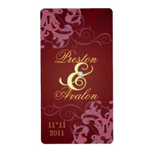 Étiquette orné de bijoux de vin de mariage d'or ro étiquette d'expédition