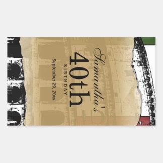 Étiquette personnalisable de vin de Colisé romain Autocollant Rectangulaire