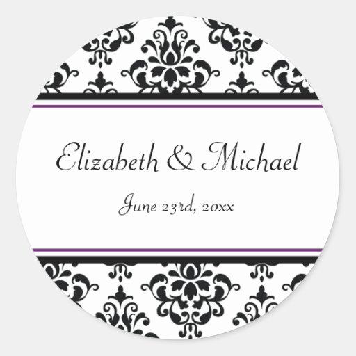 Étiquette rond de faveur de mariage de damassé autocollants ronds