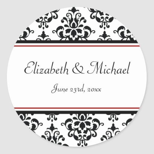 Étiquette rond de faveur de mariage de damassé autocollant rond